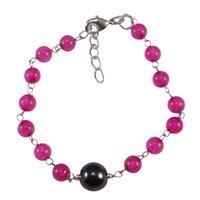 Pink Quartz & Hematite Gemstone Beads Bracelet PG-131591