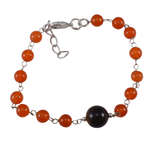 Orange Quartz & Tiger Eye Gemstone Beads Bracelet PG-131592
