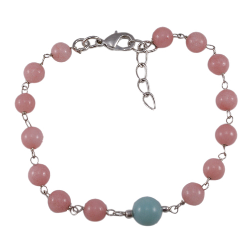 Pink & Blue Quartz Gemstone Beads Bracelet PG-131594