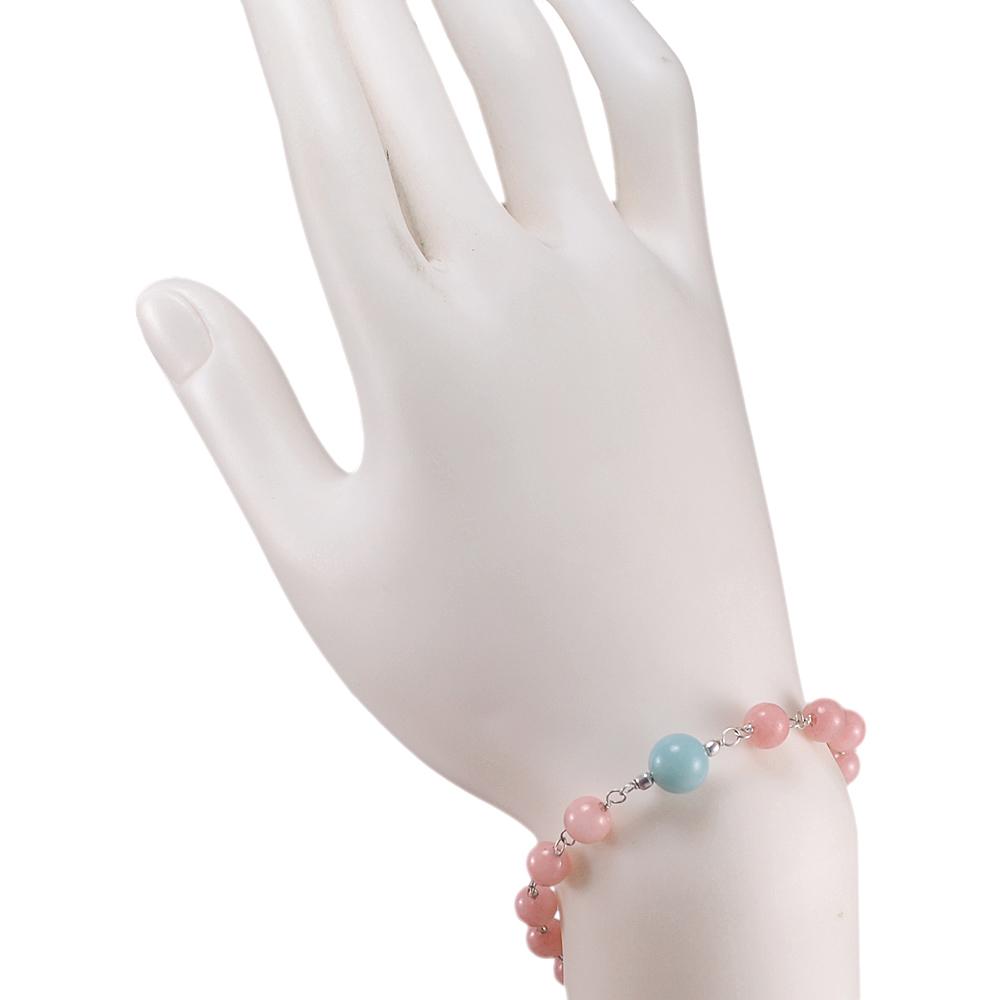 Pink & Blue Quartz Gemstone Beads Bracelet PG-131594