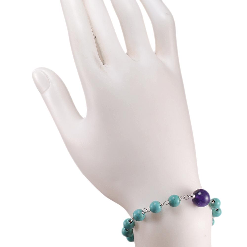 Turquoise & Amethyst Gemstone Beads Bracelet PG-131595