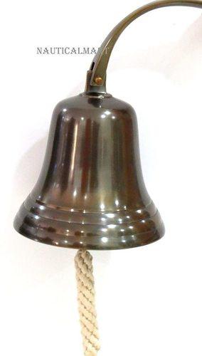 """Brass Nautical Antique Ship Bell 8"""" Wall Hanging Nautical Decor Door Bells"""