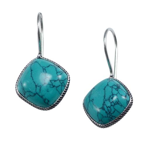 Turquoise Women Earring Pg-133358 Size: 1.4X2.6
