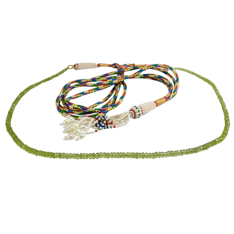 Green Quartz & Pearl Adjustable Necklace PG-133359