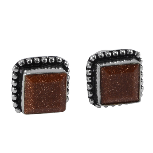 Brown Sunstone Gemstone Earring PG-133369