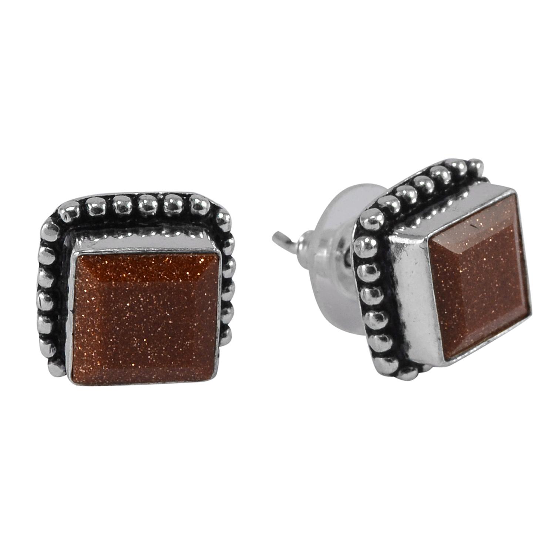 Brown Sunstone Gemstone Earring PG-133369