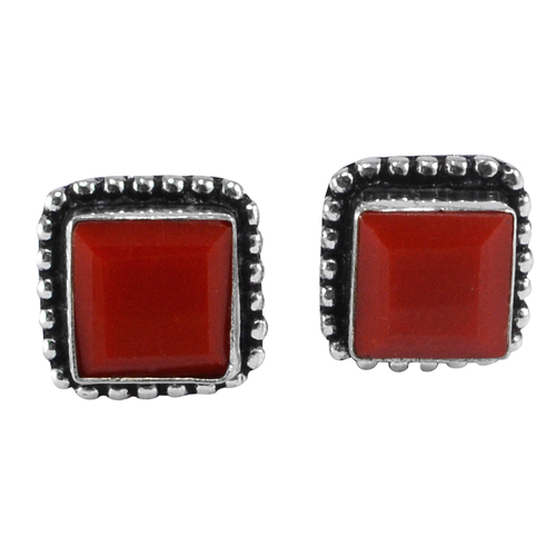 Red Coral Gemstone Earring PG-133371