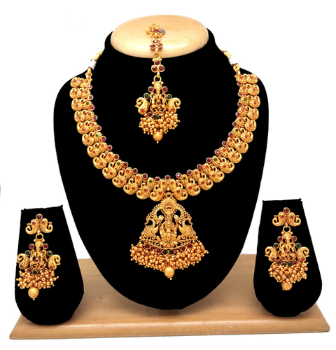 Traditional design temple jewellery necklace set
