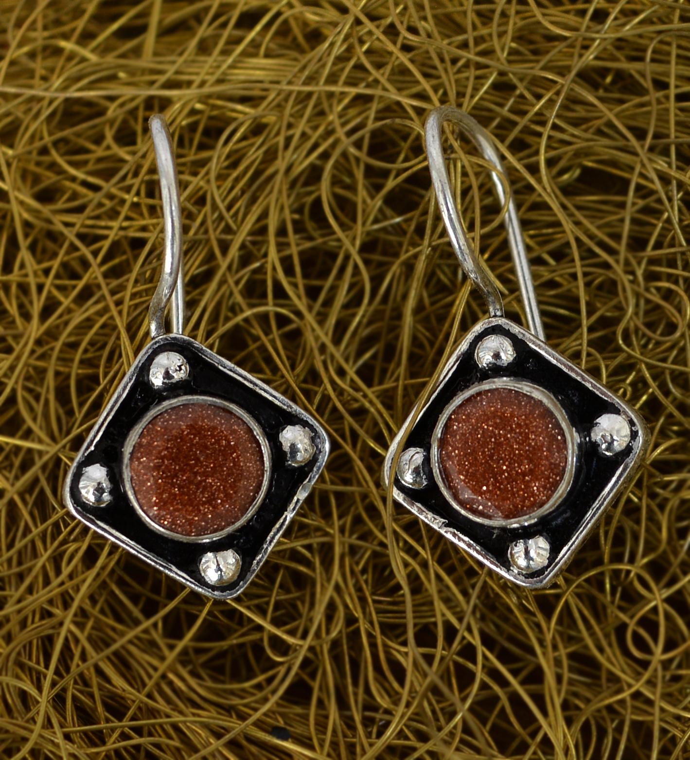 Brown Sunstone Gemstone Earring PG-133373