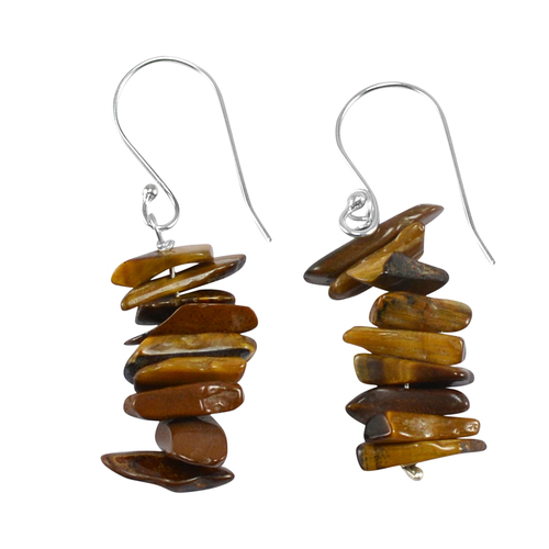 Tiger Eye Gemstone Silver Earring PG-133375