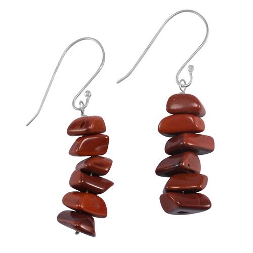 Red Jasper Gemstone Silver Earring PG-133377