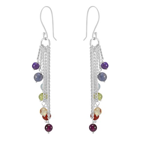 Multi Gemstone Silver Earring PG-133381
