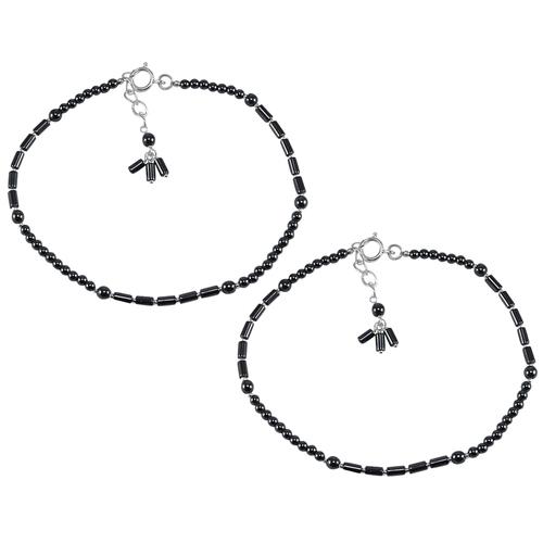 Hematite Gemstone Silver Anklet PG-133388