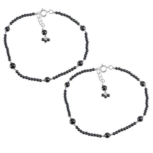 Hematite Gemstone Silver Anklet PG-133389