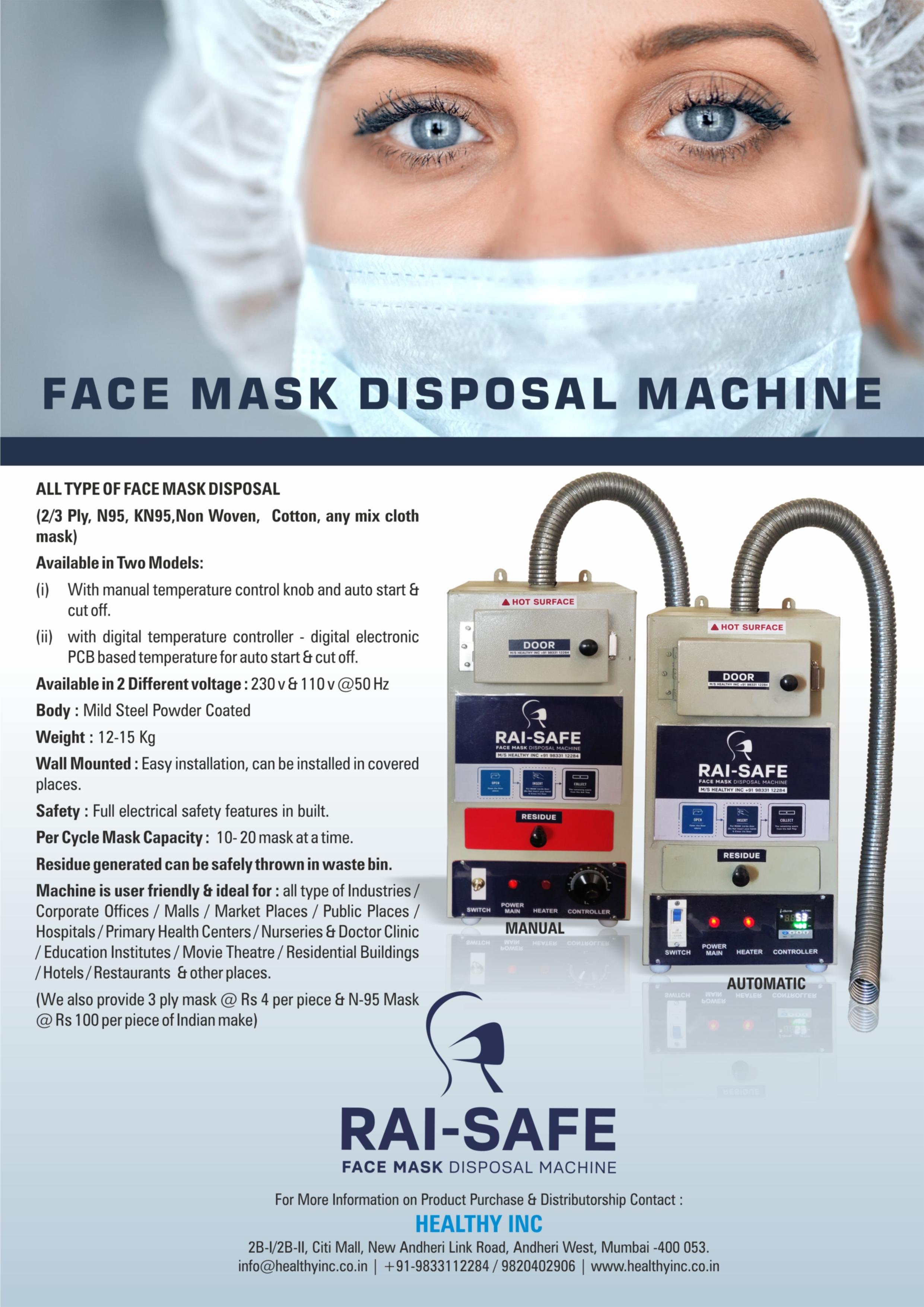 RAI SAFE MASK DISPOSAL MACHINE