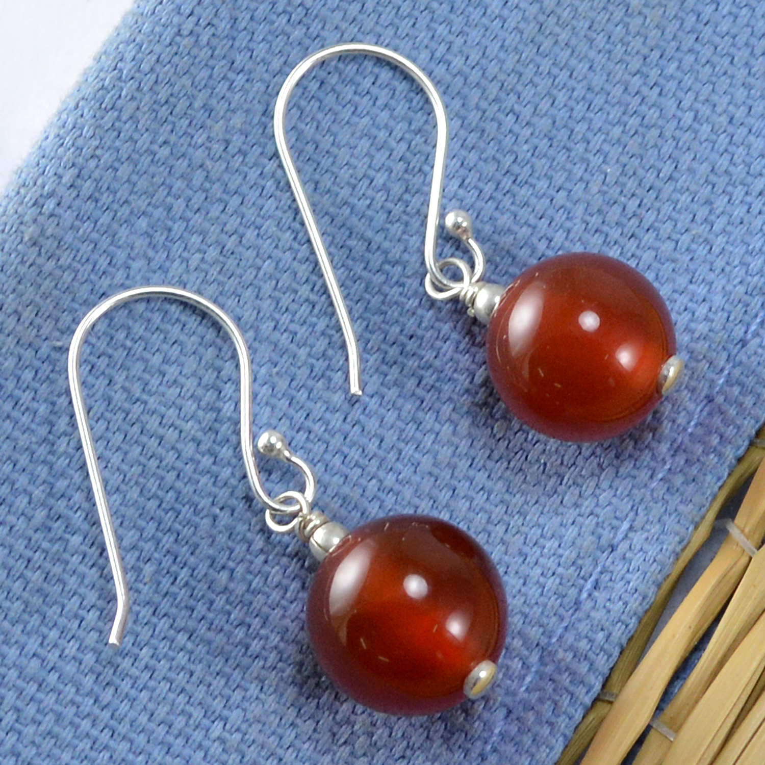 Red Onyx Silver Earring PG-133393