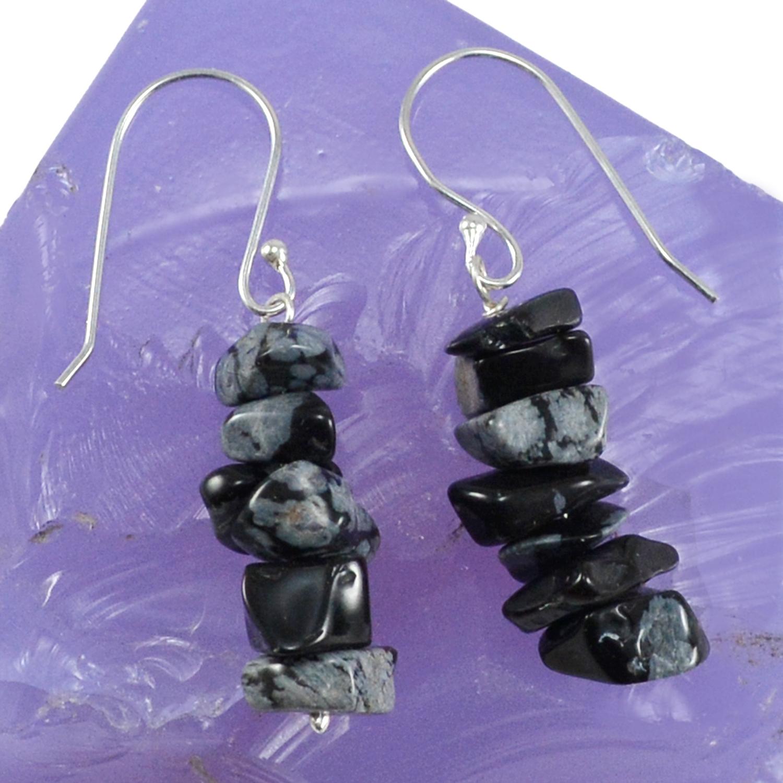 Snowflake Obsidian Silver Earring PG-133397