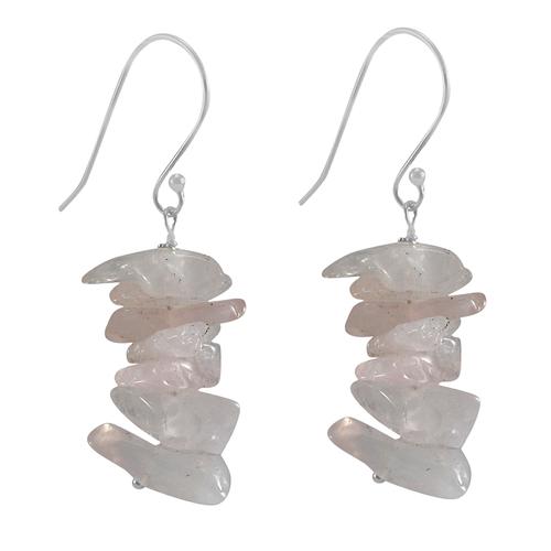 Rose Quartz Silver Earring PG-133398