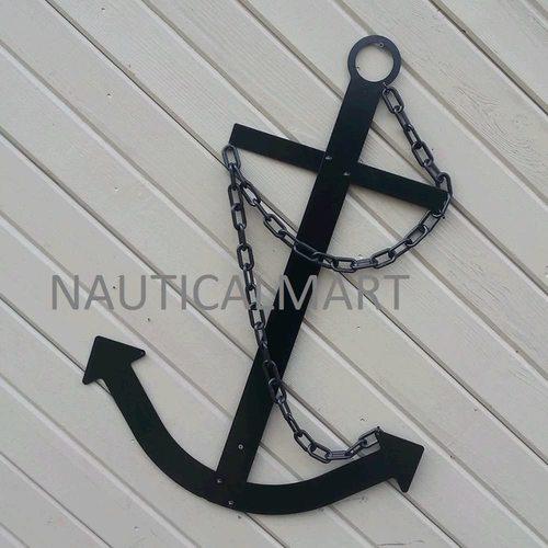 """Nauticalmart Black Anchor Wall Decor Navy Ship 34"""" Nautical Metal Decorative Outdoor Art"""