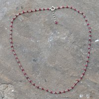 Ruby Silver Beaded Necklace PG-155758