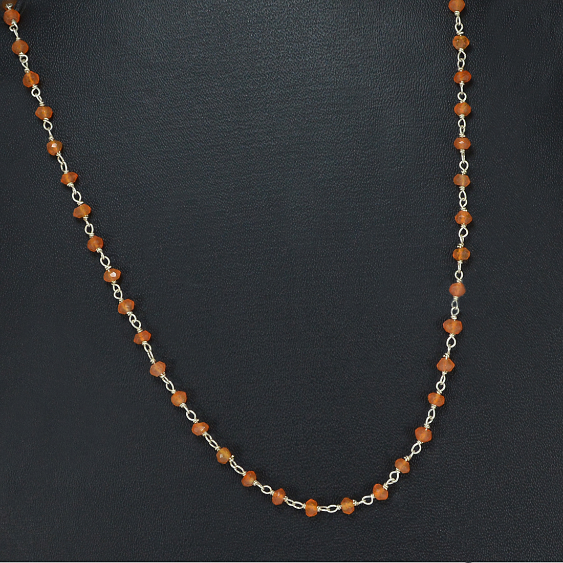 Carnelian Silver Beaded Necklace PG-155759