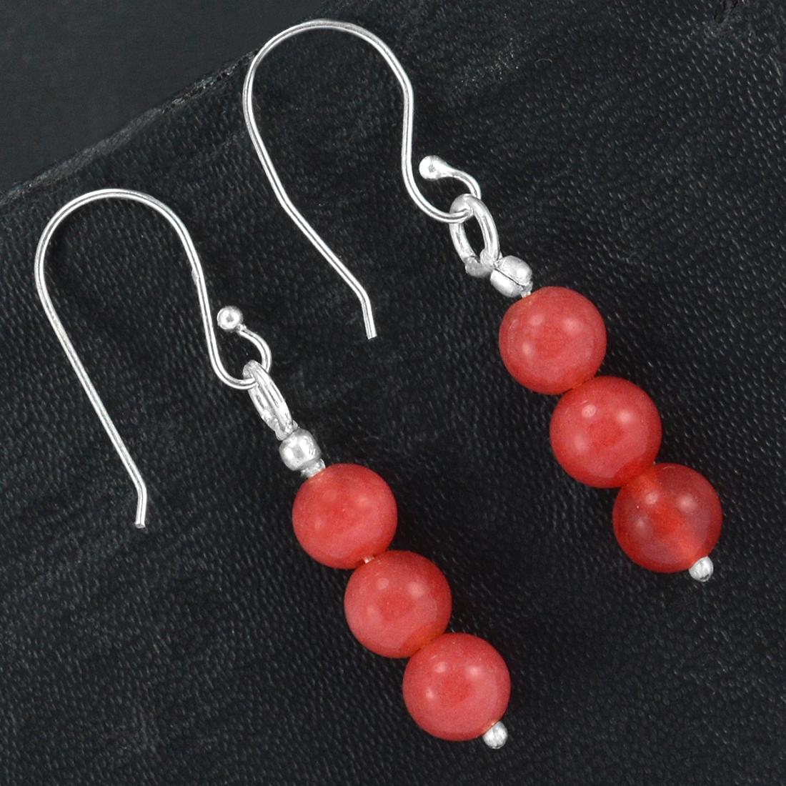 Pink Jade Gemstone Silver Earring PG-155761
