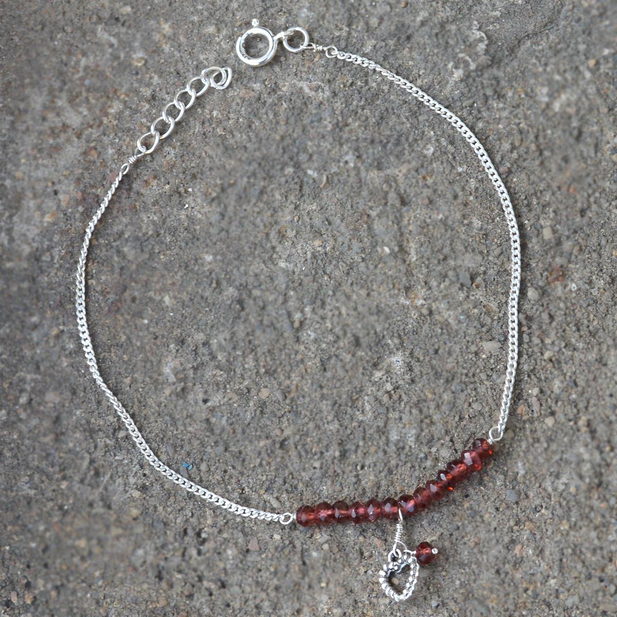 Rhodolite Crystal  Silver Single Piece Anklet PG-155785
