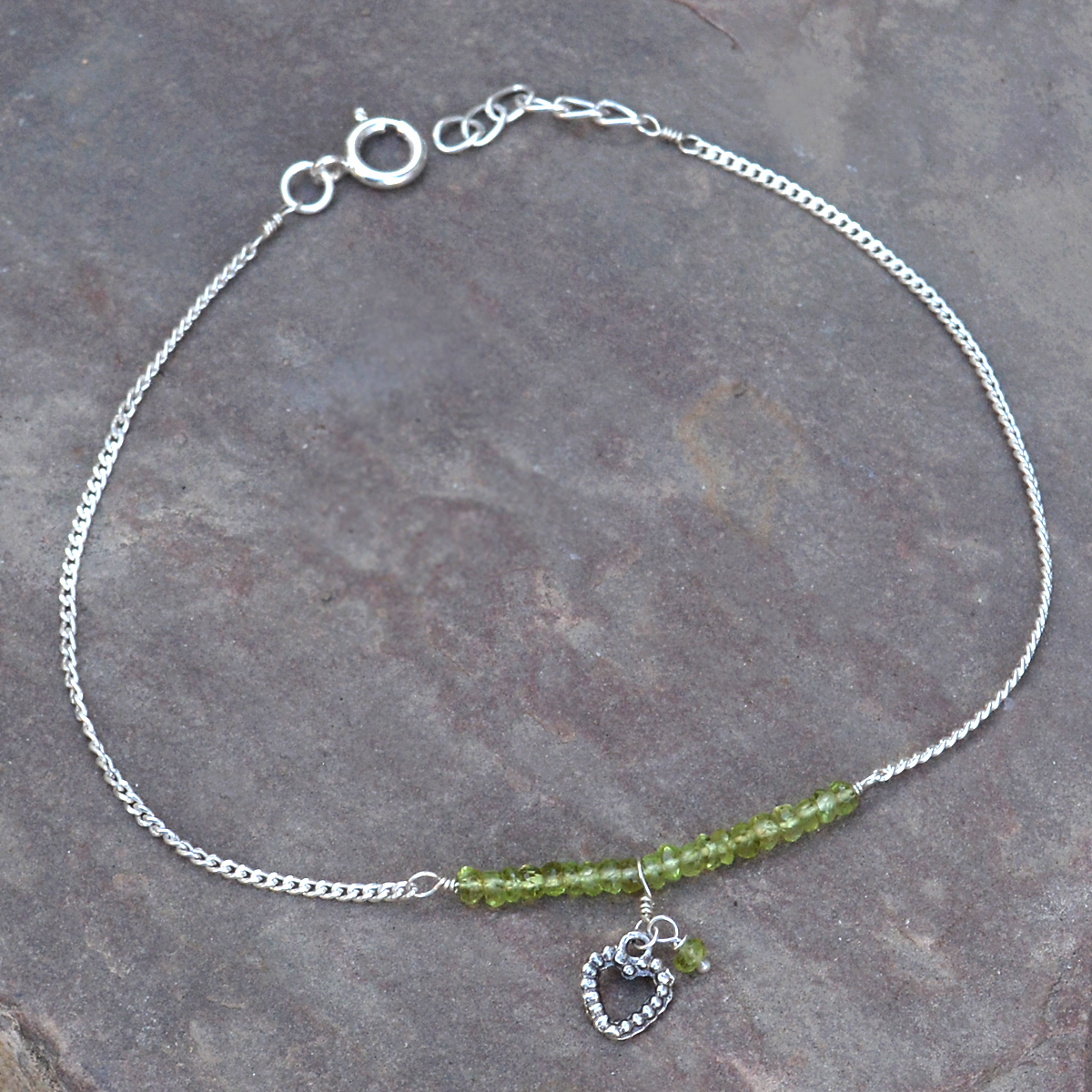 Peridot Gemstone Silver Single Piece Anklet PG-155787