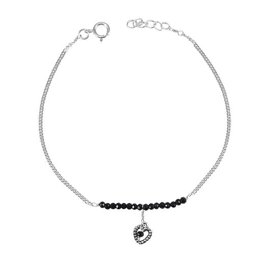 Black Onyx  Silver Single Piece Anklet PG-155788
