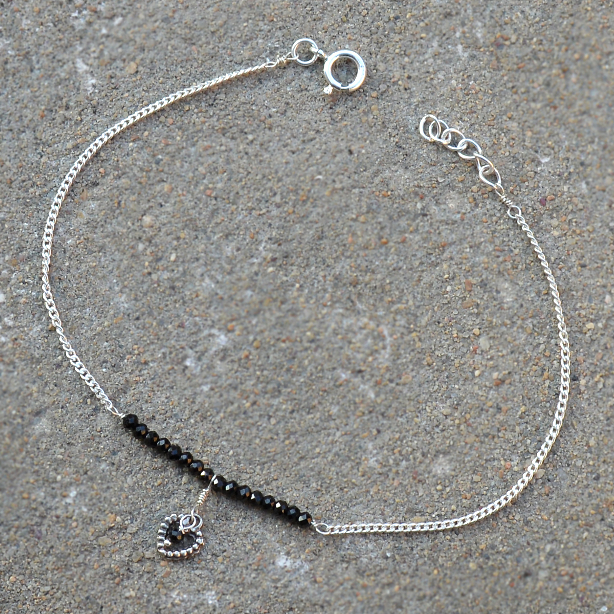 Black Onyx  Silver Single Piece Anklet PG-155788
