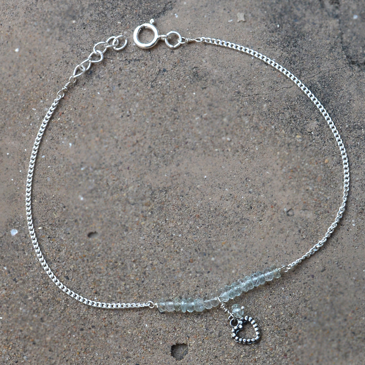 Crystal Gemstone Silver Single Piece Anklet PG-155789