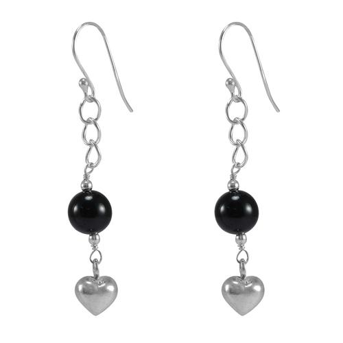 Black Onyx Gemstone Silver Earring PG-155812