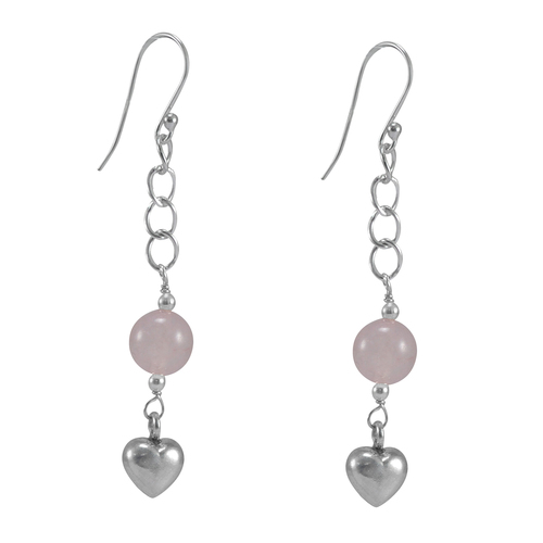 Rose Quartz Gemstone Silver Earring PG-155814