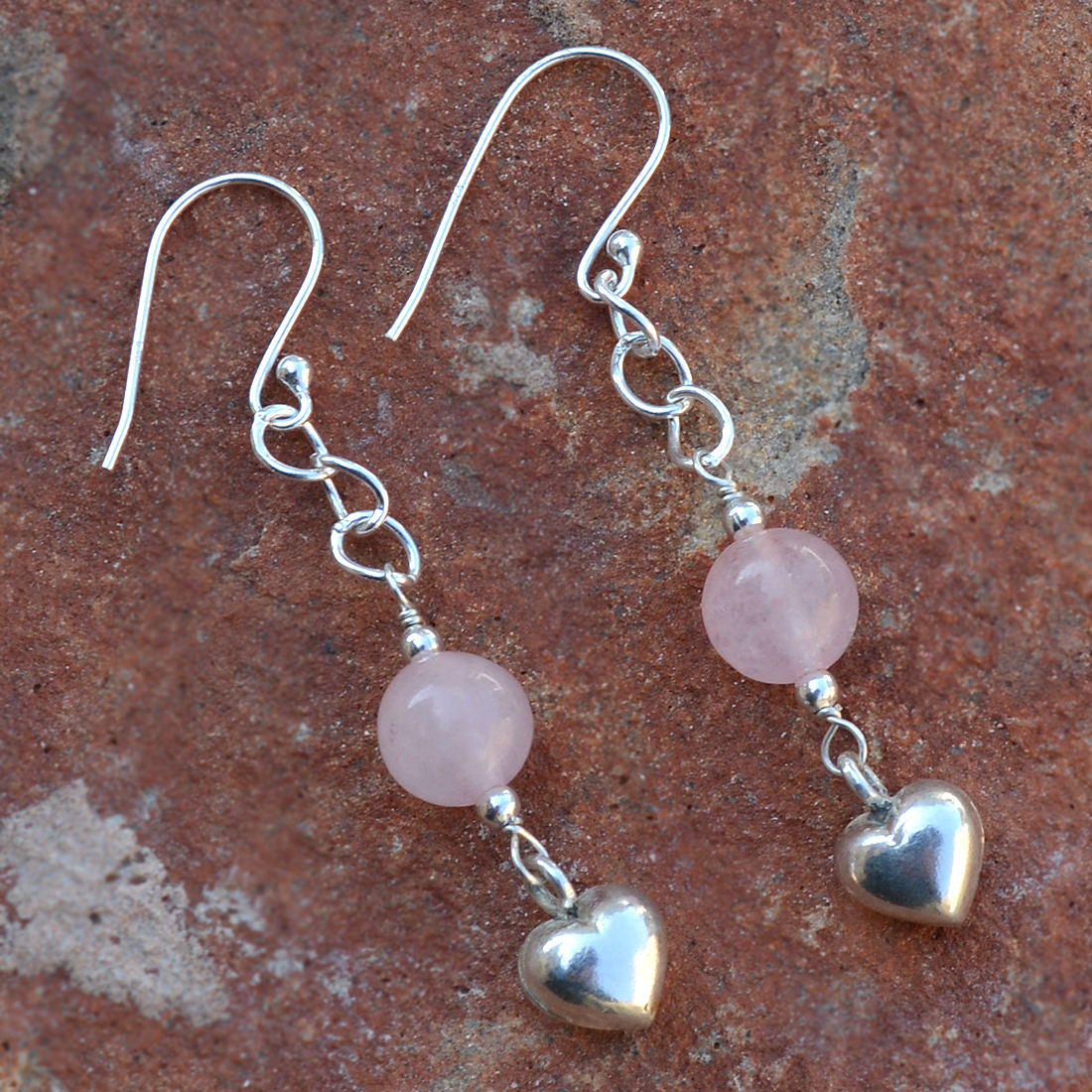 Rose Quartz Gemstone Silver Earring PG-155814