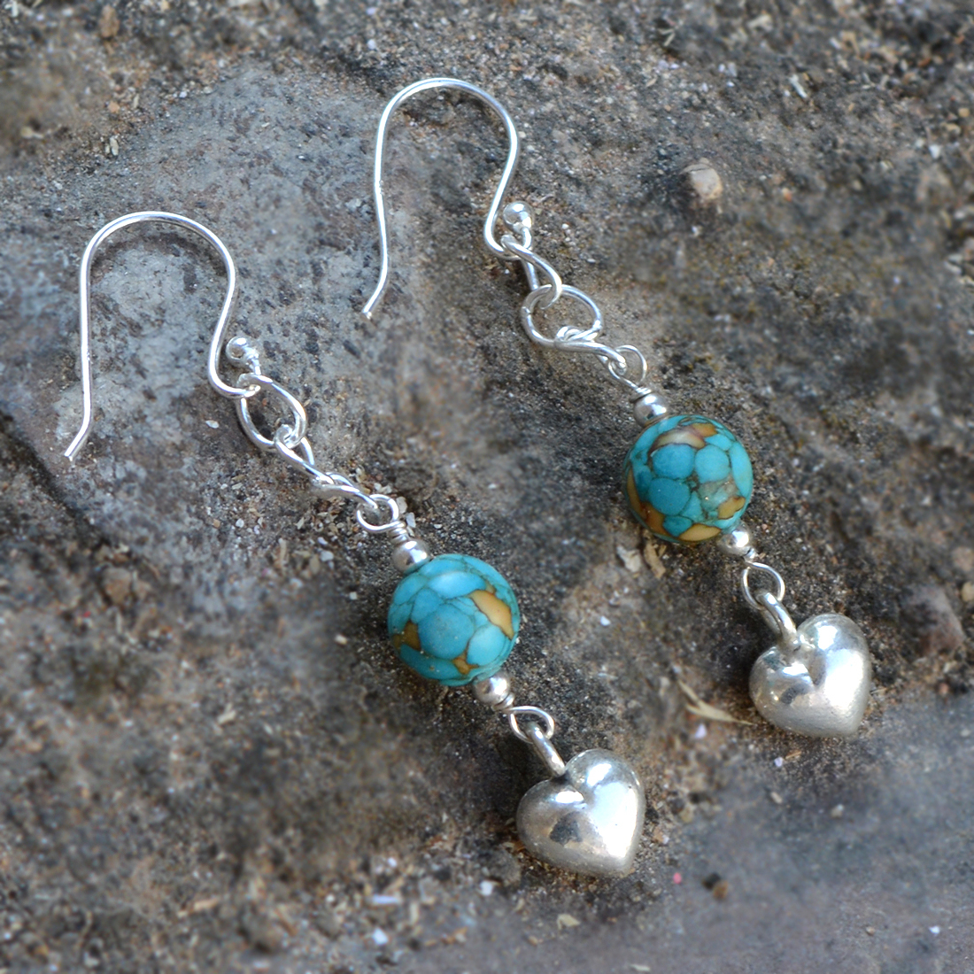 Turquoise Gemstone Silver Earring PG-155816