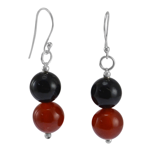 Black & Red Onyx Gemstone Silver Earring PG-155821