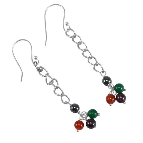 Multi Gemstone 925 Sterling Silver Earring PG-155832