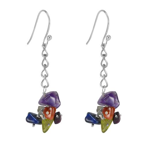 Multi Gemstone 925 Sterling Silver Earring Pg-155833 Gender: Women