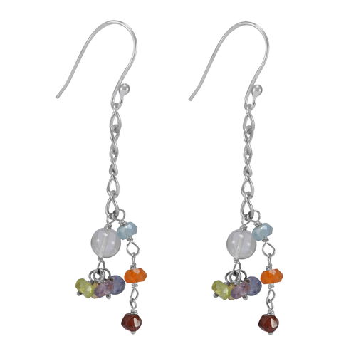 Multi Gemstone 925 Sterling Silver Earring PG-155834