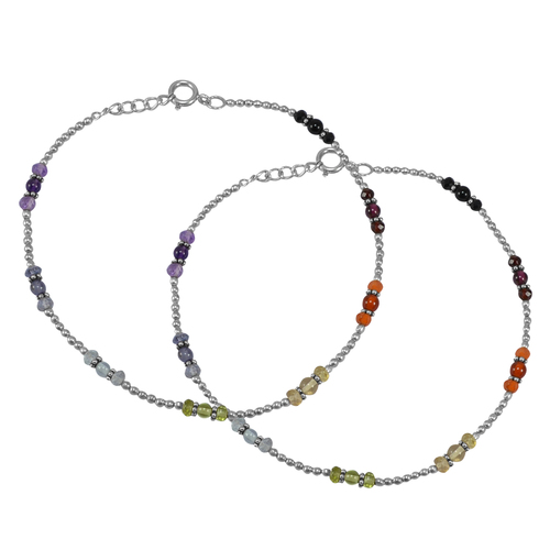 Multi Gemstone 925 Sterling Silver Anklet PG-155835