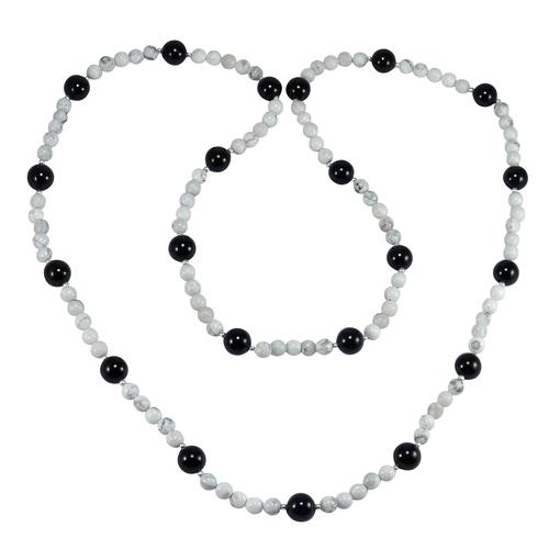 Black Onyx & Howlite Gemstone Necklace PG-155836