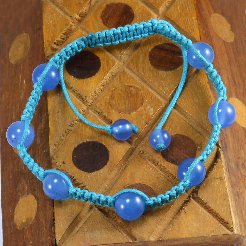 Blue Chalcedony Gemstone Adjustable Bracelet PG-155839