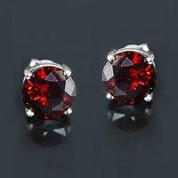 Red Cubic Zircon Silver Stud Earring PG-155847