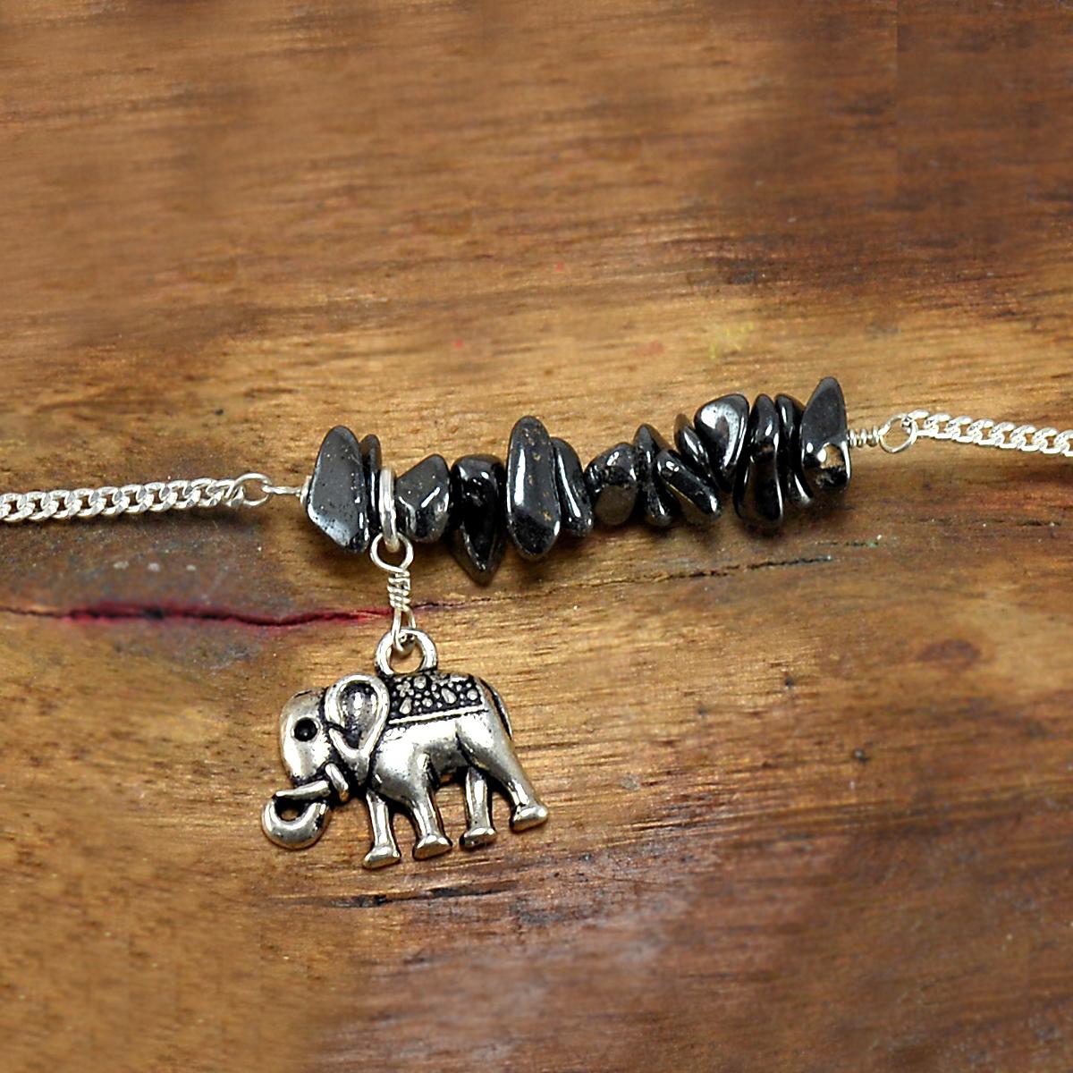 Hematite Gemstone Silver Bracelet PG-155856