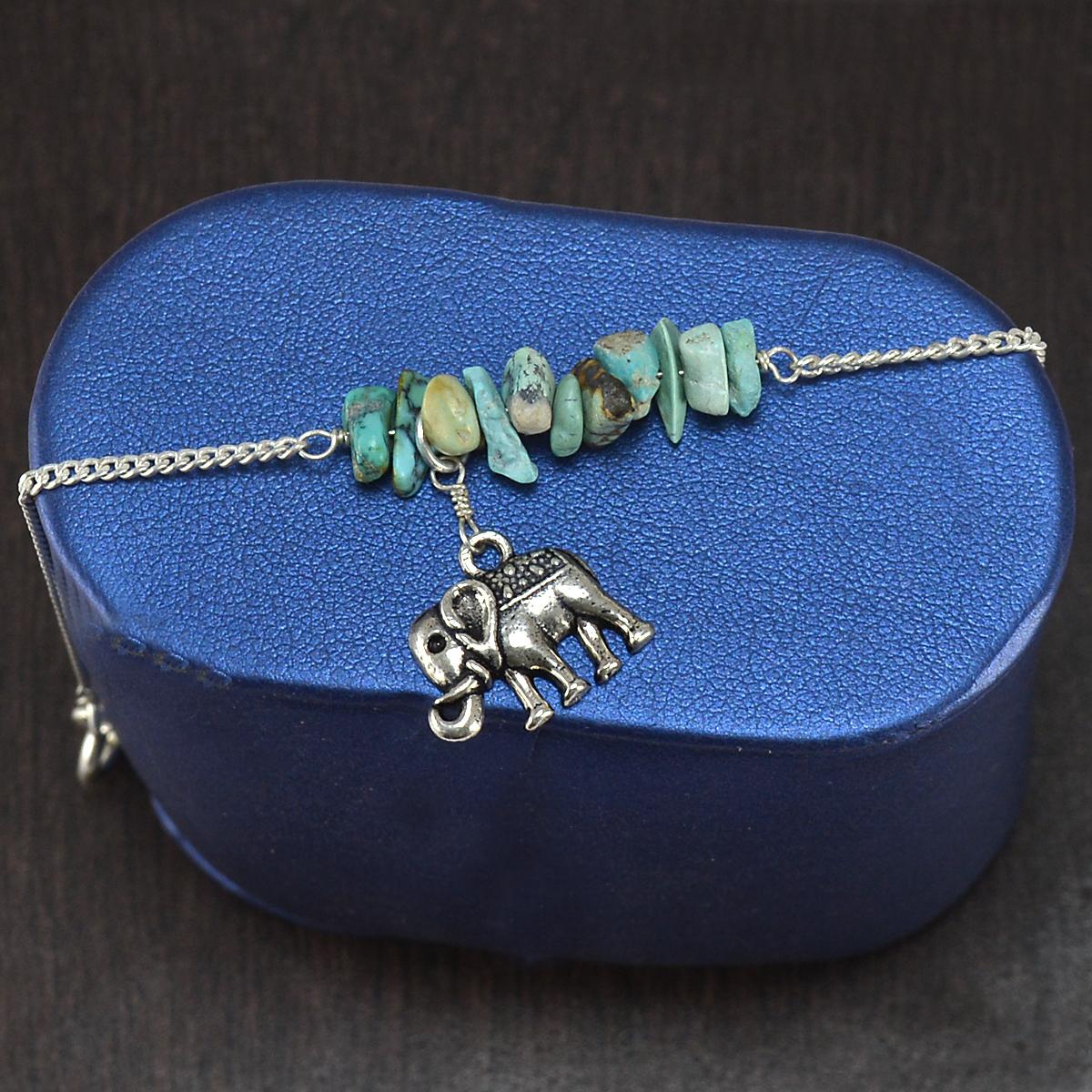 Turquoise Gemstone Silver Bracelet PG-155858