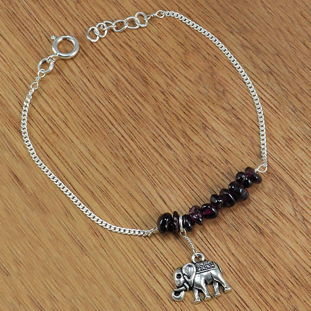 Garnet Gemstone Silver Bracelet PG-155863