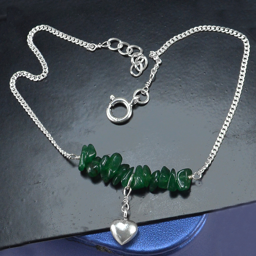 Green Aventurine Silver Single Piece Anklet PG-155866