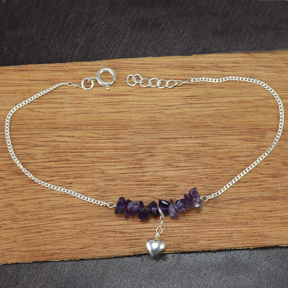 Amethyst Gemstone Silver Single Piece Anklet PG-155868