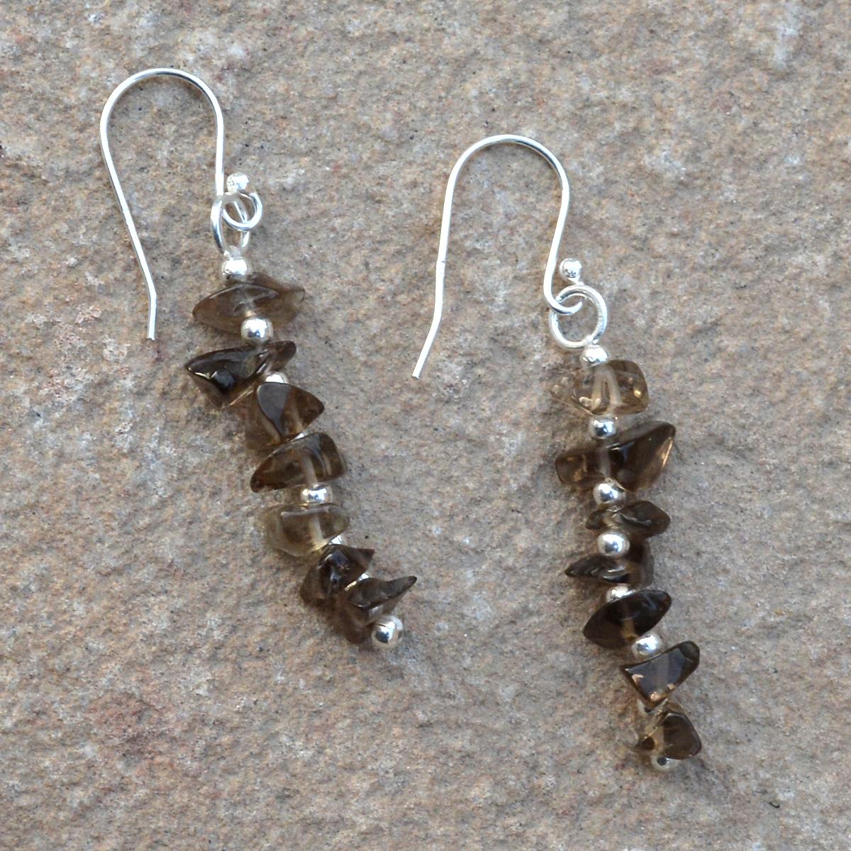 Smokey Quartz Silver Dangle Earring PG-155877