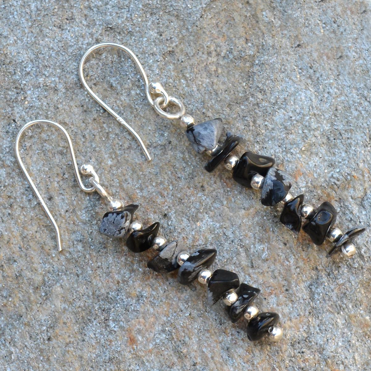 Snowflake Obsidian  Silver Dangle Earring PG-155886